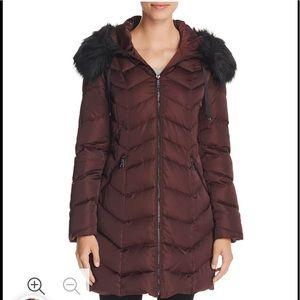 T Tahari,Faux Fur Trim Puffer,Coat,Merlot,NWOT